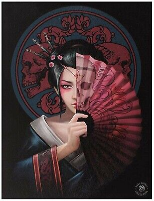 Geisha Skull Canvas Wall Picture By Anne Stokes Gothic Fantasy • 4.75£