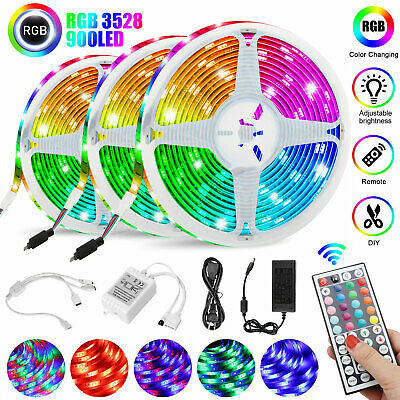 $22.97 • Buy 49FT Flexible Strip Light 3528 RGB LED SMD Remote Fairy Lights Room TV Party Bar