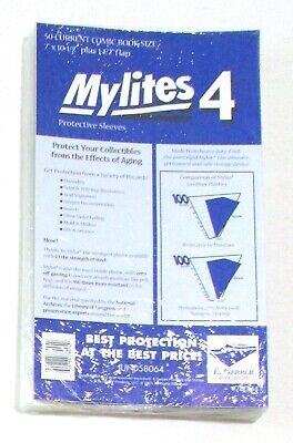 $25 • Buy 50 CURRENT COMIC BOOK SIZE MYLITES 4, 7  X 10-1/2  E. Gerber Mylar Bag, Sleeve
