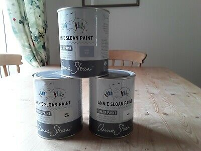 Annie Sloan Chalk Paint 1 Litre Tins X 3 In Old White, Pure & Loius Blue. New. • 44£