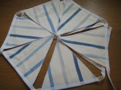 Laura Ashley Painterly Blue Stripe Handmade Bunting 10 Double Sided Flags • 19.95£