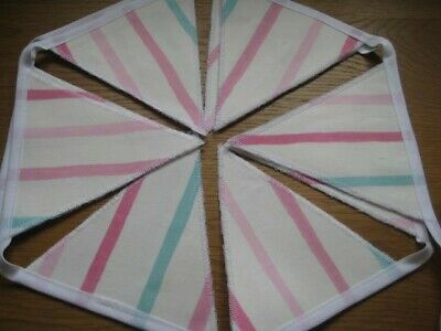 Laura Ashley Painterly Pink Stripe Handmade Bunting 10 Double Sided Flags • 19.95£
