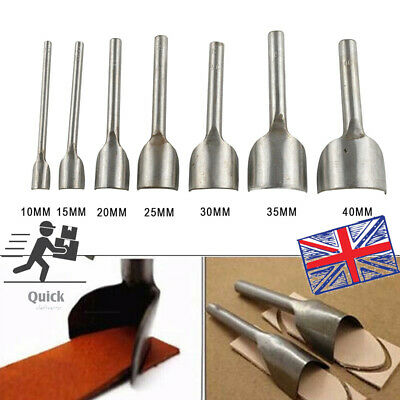 7x Leather Craft Half-round Cutter Punch Strap Belt Wallet End Tool 10-40mm UK • 13.95£