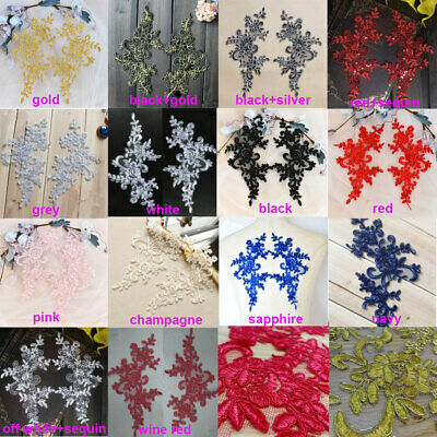 Mirror Pair Corded Embroidery Floral Lace Applique Sequined Patch For Wedding • 3.99£