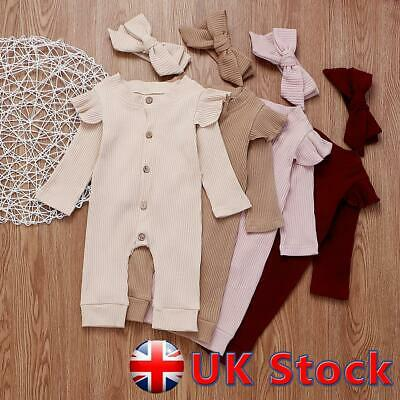 Newborn Baby Girls Ribbed Clothes Cotton Romper Jumpsuit Headband Ruffle Outfits • 10.79£