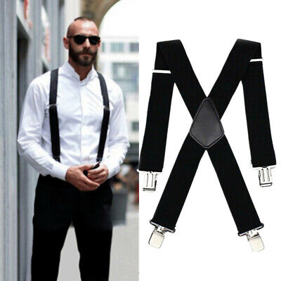$7.98 • Buy Mens Heavy Duty Suspenders Adjustable Clip On Work Braces 2  Wide Solid Color