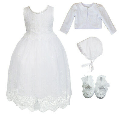 £33.99 • Buy Girls White Lace Christening Gown Bolero Bonnet With Shoes 0 3 6 9 12 18 Months