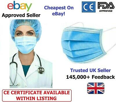 50 / 100 Face Mask Mouth Cover Breathable 3ply Face Masks Surgical • 13.99£