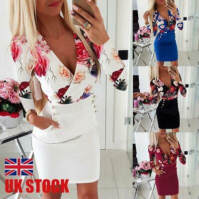 £6.29 • Buy Womens Sexy Floral Bodycon Mini Dress Ladies Long Sleeve Evening Party Dresses