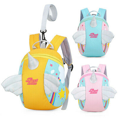 Toddler Girls Baby Unicorn Backpack Safety Anti-lost Strap Rucksack With Reins • 7.99£