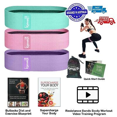 AU23.99 • Buy Resistance Booty Band Set Of 3 Hip Circle Bands With Bag EBooks & Workout Video