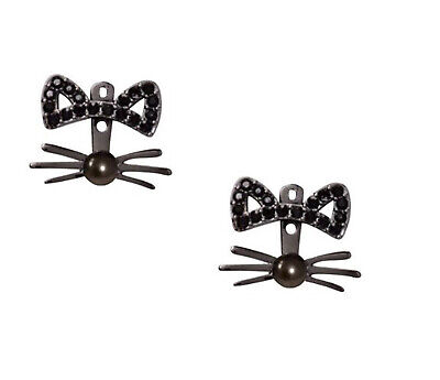 $ CDN35.87 • Buy NEW Kate Spade Out West Pave Cat Ear Jacket Earrings Rhodium W/ Faux Pearl Nose