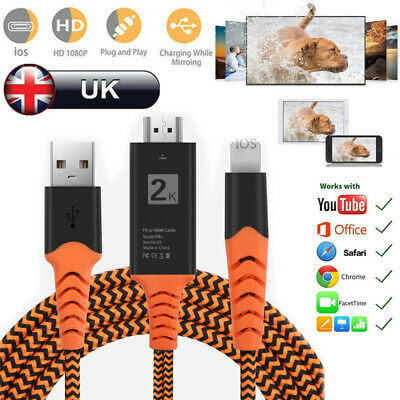 Nylon Braided IOS To HDMI Cable 1080P HD TV Video Adapter Connector For IPhone • 7.85£