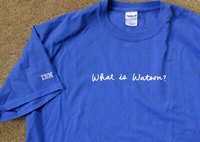 IBM JEOPARDY WHAT IS WATSON? Blue Short Sleeve T Shirt Size L Rare Shirt VHTF • 6.50£
