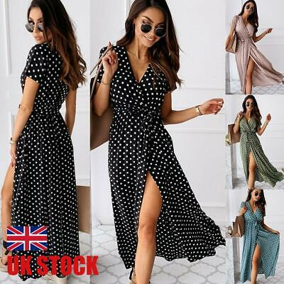 UK Womens Polka Dot Maxi Wrap Dress Ladies Summer Holiday V Neck Party Prom Gown • 14.78£