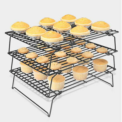 3 Tier Cake Cooling Wire Rack Tray Kitchen Cake Baking Biscuit Bread Nonstick • 9.89£