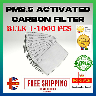 £2.39 • Buy PM2.5 FILTER 1-1000x For Washable Reusable Face Mask 5LAYER ACTIVATED CARBON Lot