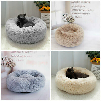 S/M/L Luxury Plush Calming Pet Bed Fluffy Soft Donut Nesting Anxiety Dog Bed  • 16.99£