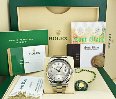 $ CDN12518.49 • Buy ROLEX White Gold & Stainless DateJust II Silver Diamond CARD 116334 SANT BLANC