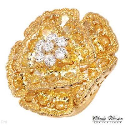$28.01 • Buy HUGE Charles Winston Cocktail Ring CZ 14K Gold Plated Sterling Silver Sz 9