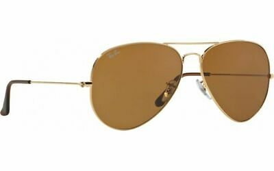 AU99.99 • Buy Ray-Ban Aviator Sunglasses Gold Frame Brown Classic B-15 Lens RB3025 001/33 58mm