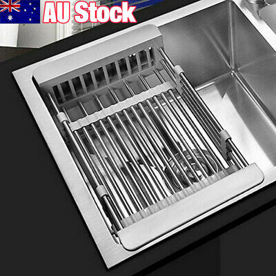 AU19.99 • Buy New Dish Drying Rack Kitchen Organizer Over Sink Dish Drainer Stainless Steel AU