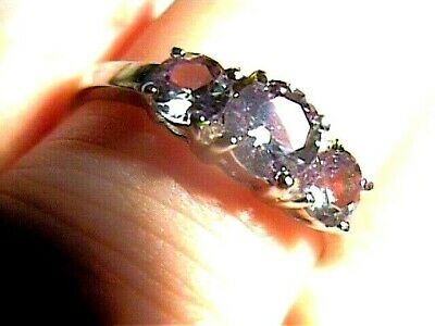 AU133.24 • Buy Sterling 925 Silver Ring Russian Alexandrite 10 Small Color Change Dainty Trio
