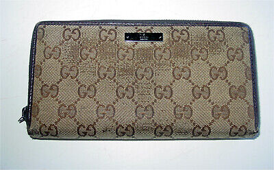 $39.99 • Buy Auth Vintage Gucci Monogram/brown Leather Long Zip-around Wallet- Italy -awesome