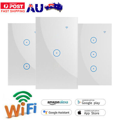 AU25.39 • Buy WIFI Smart Wall Light Touch Panel Switch App Timing Socket For Alexa Google Home