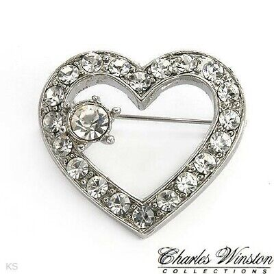 $8.85 • Buy Beautiful Heart Brooch Pin From CHARLES WINSTON With SWAROVSKY New With Pouch