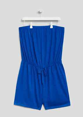 Matalan PAPAYA CURVE Bandeau Blue Playsuit Beach Holiday Pool Side 26 28 (BM) • 3.99£