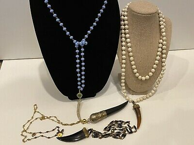 Horn Pendant Long Marble Faceted Bead Black Necklace Lot • 25.41£
