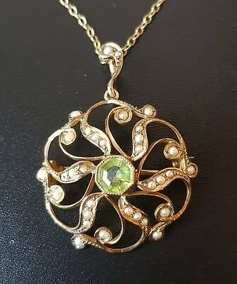 Antique Edwardian 9ct Gold Peridot Seed Pearl Pendant Necklace • 202£