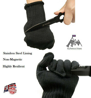 Wire Mesh Stainless Steel Thread Gloves - Body Armour Combat Defense Chainmail • 9.95£