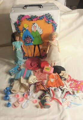 $ CDN32.57 • Buy Vintage 1968 Mattel Barbie Double Case Trunk 2 Skipper Dolls Clothes Acc Lot