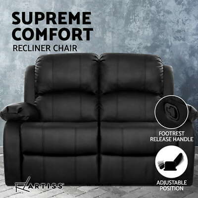 AU323.95 • Buy Artiss Recliner Chair 2-Seater Premium Leather Double Lounge Sofa Couch Black