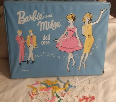 $ CDN27.14 • Buy Vintage 1963 Mattel Barbie  Midge Doll Double Carry Case Trunk & Clothes Hangers