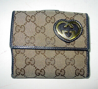 $49.99 • Buy Auth  Vintage Gucci Monogram Brown Leather Gg Logo Bi-fold Wallet - Italy-beauty