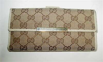 $59.99 • Buy Auth  Vintage Gucci Monogram/ivory Leather Long Bi-fold Wallet - Italy-awesome!