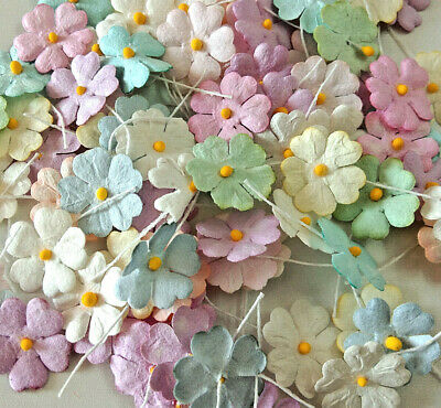 50 Pcs. Tiny Daisy Flowers Mixed Pastel Color Mulberry Paper Craft 1 Cm Diameter • 5.50£