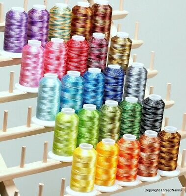 $37.95 • Buy 25 Colors Large Cones Variegated Polyester Embroidery Machine Thread Kit 1100 Y