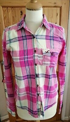 Hollister Ladies Pink Checked Cotton Shirt S Small • 4.99£
