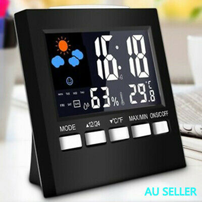 AU15.63 • Buy Weather Station Alarm Clock Thermometer Wireless Temperature Humidity Meter AU