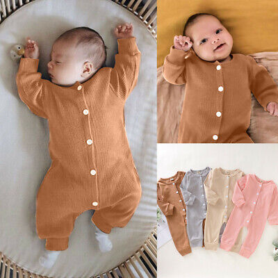 $8.99 • Buy Newborn Infant Baby Girl Boy Long Sleeve Solid Romper Jumpsuit Clothes Outfits