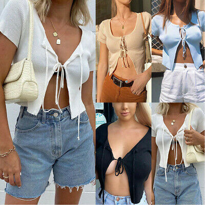 Women Lady Sexy Knit Open Front Tie Up Short Sleeve Cardigan Crop Tops Summer • 5.80£