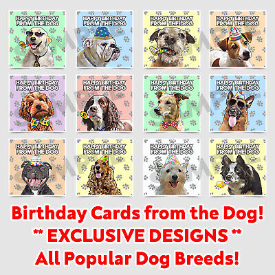Birthday Card From The Dog, Cute Art For Men Women Husband Wife Popular Breeds • 2.95£