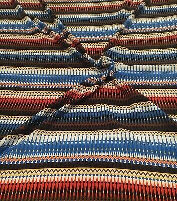 """Off White Soft Crepe Fabric With Blue/Orange/Brown/Light Yellow Aztec Print 58"""" • 3.99£"""