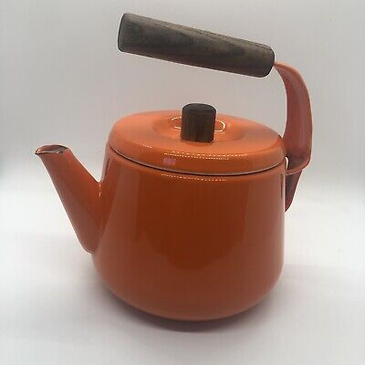 $9.30 • Buy Vintage Atomic MCM Scandinavian Style Enamel Ware Orange Tea Pot