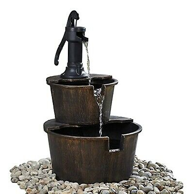 2-Tier Wooden Effect Barrel With Pump Cascading Water Fountain Garden Feature • 47.49£