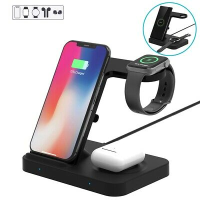 AU33.92 • Buy AU 5In1 Qi Wireless Charger Dock For IWatch 5/4/3/2/1 Galaxy Watch IPhone 11 XS